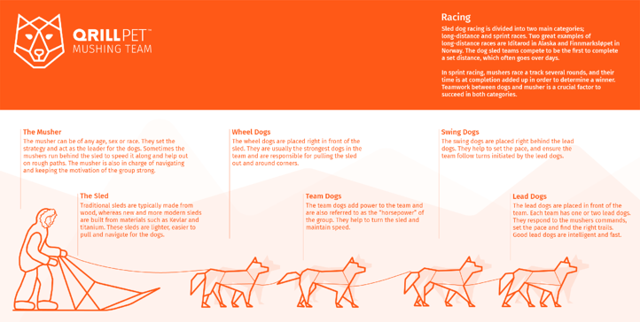 Dog Mushing Infographic powered by QRILL Pet